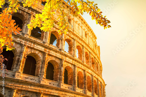 ruins of Colosseum at sunrise light in Rome, Italy at fall Canvas Print