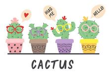Cartoon Funny Cactus In Glasse...