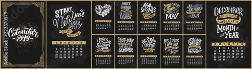 Photo  Vector calendar for months 2 0 1 9
