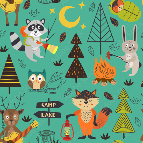 camping seamless pattern with animals in the forest - vector illustration, eps
