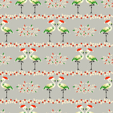 Christmas Seamless Pattern With Flamingos In Hats.