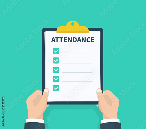 Photo Man hold Attendance clipboard with checklist