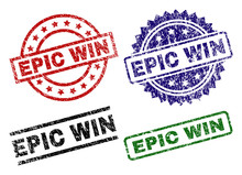 EPIC WIN Seal Prints With Corroded Surface. Black, Green,red,blue Vector Rubber Prints Of EPIC WIN Text With Dust Surface. Rubber Seals With Round, Rectangle, Rosette Shapes.