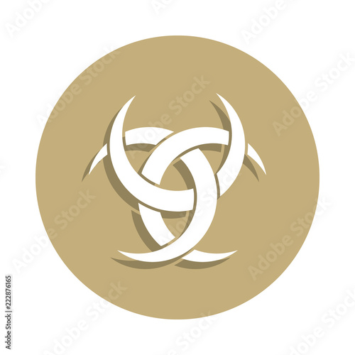 Photo  Paganism Odin horns sign icon in badge style