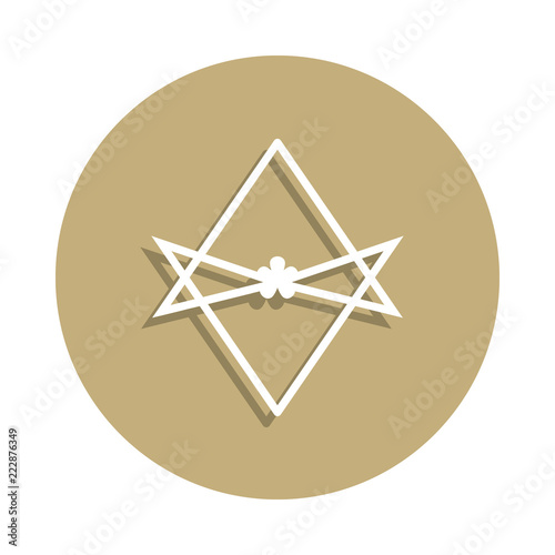 Photo  Thelema Unicursal hexagram sign icon in badge style