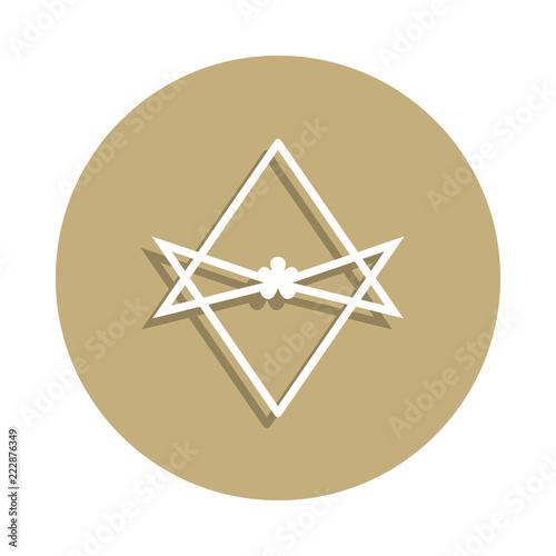Fotografia  Thelema Unicursal hexagram sign icon in badge style