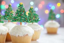 Happy Holidays. Christmas Tree Cupcake