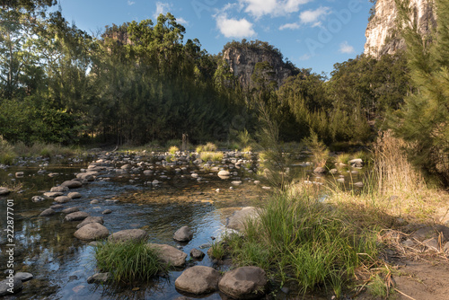Fotografia, Obraz Stepping stones across the river flowing through the forested floor of the Carnarvon Gorge, with the sandstone walls of the gorge in the background