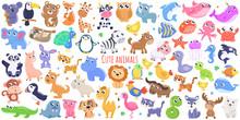 Cute Cartoon Animals. Flat Design