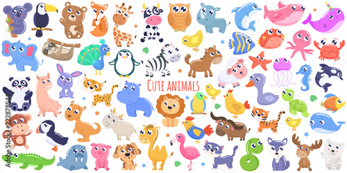 Cute cartoon animals. flat design