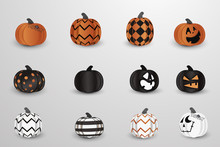 Set Of Realistic Vector Halloween Spooky, Creepy Pumpkins With Different Faces, Spider Web Isolated. Cartoon Pumpkin Lantern. Scary Jack. Happy Face .Modern Halloween Symbol And Decoration.