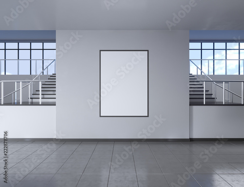 Canvas Print Modern school corridor interior with empty poster on wall
