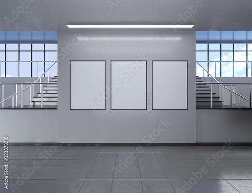 Photo Modern school corridor interior with empty poster on wall