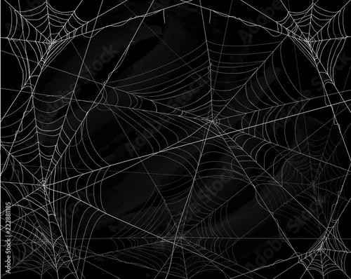 Black Halloween background with spiderwebs Fotobehang