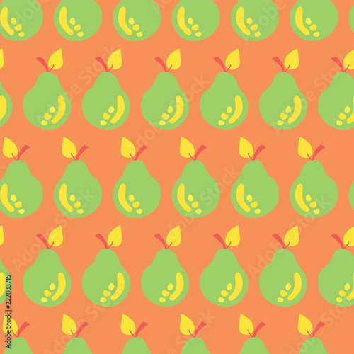 Pear Seamless Vector Pattern Background Green An Yellow