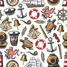 Vintage Vector Nautical Seamless Pattern
