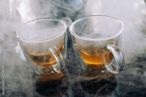 Photo sur Toile The Tea ceremony.Cups of tea on the table