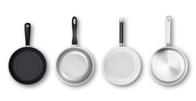 Vector Realistic 3d Empty Black, Silver, Non-stick, Enamel, White Cover Surface Frying Pan Icon Set In Top View Isolated On White Background. Design Template For Graphics