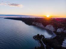 Scarborough Bluffs Sunset Aerial With Toronto Skyline
