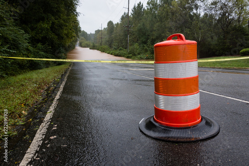 Waxhaw, North Carolina - September 16, 2018: Police barricade the road after a b Canvas Print