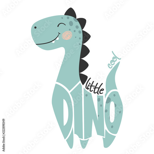 Dinosaur baby boy cute print. Little cool dino slogan and lettering.