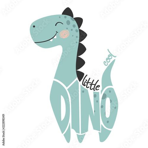 Ładny dinozaur dla chłopca. Małe fajne hasło i napis Dino.
