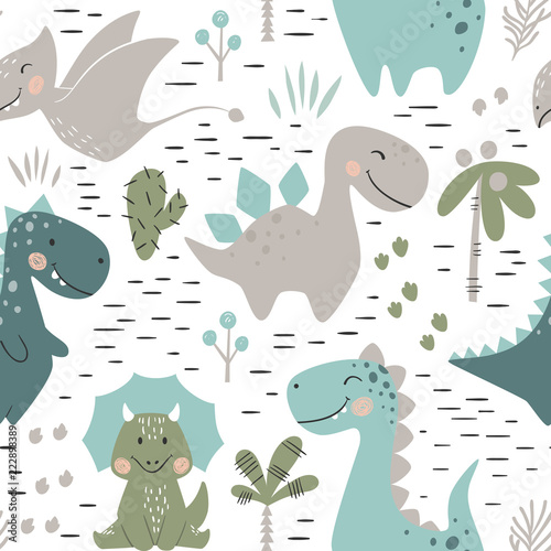 obraz lub plakat Dinosaur baby boy seamless pattern. Sweet dino with palm and cactus
