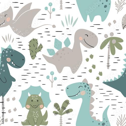 fototapeta na drzwi i meble Dinosaur baby boy seamless pattern. Sweet dino with palm and cactus
