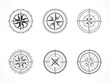Vector set of vintage compasses or marine wind roses. Collection in line art style. Black line. Isolated on white background.