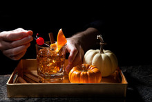 Fall Drinks In Bar - Old Fashi...