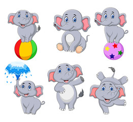 Cartoon elephants collection with different actions