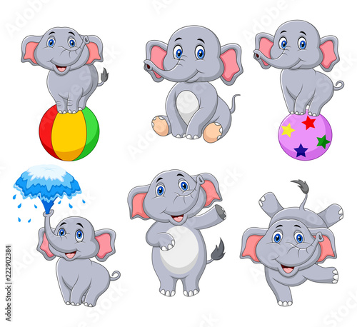 Garden Poster Creatures Cartoon elephants collection with different actions