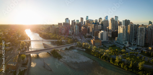 Valokuva  Aerial panoramic view of a beautiful modern cityscape during a vibrant sunny sunrise
