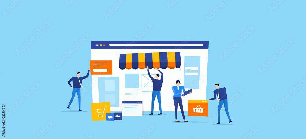Fototapeta developer and designer team create  online shop concept