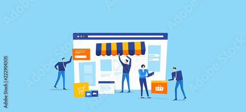 Foto developer and designer team create  online shop concept