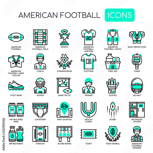 Fotografía  American Football , Thin Line and Pixel Perfect Icons
