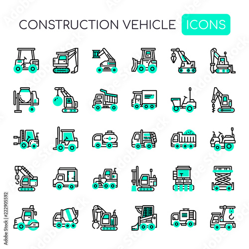 Fotografia, Obraz  Construction Vehicle , Thin Line and Pixel Perfect Icons.