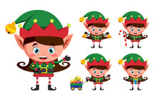 Girl Elf Christmas Vector Character Set. Kid Elves Cartoon Characters Playing And Holding Christmas Elements And Objects Isolated In White Background. Vector Illustration.