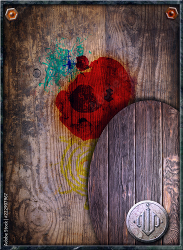 Fotobehang Imagination Old fashioned background with wood and stains of paint