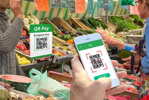 Fotografie, Obraz  QR code payment , cashless shopping , cashless online technology concept