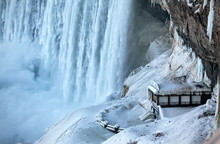 A Platform Beside Niagara Falls Covered In Snow