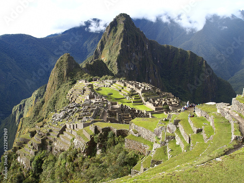 Photo Stands South America Country Machu Picchu, the ancient inca city of Peru
