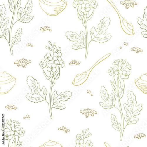 Fotografia Mustard plant graphic color seamless pattern background sketch illustration vect