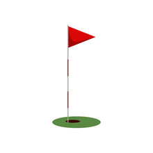 Golf Flag On The Grass With Ho...
