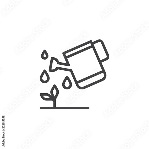 Obraz Watering plants outline icon. linear style sign for mobile concept and web design. Garden watering can line vector icon. Symbol, logo illustration. Pixel perfect vector graphics - fototapety do salonu