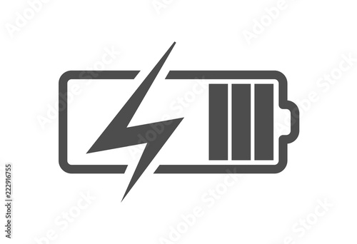 Foto Battery charge icon, vector electrical power charger