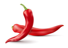 Two Red Chilli Peppers With Shadows Isolated On White Background