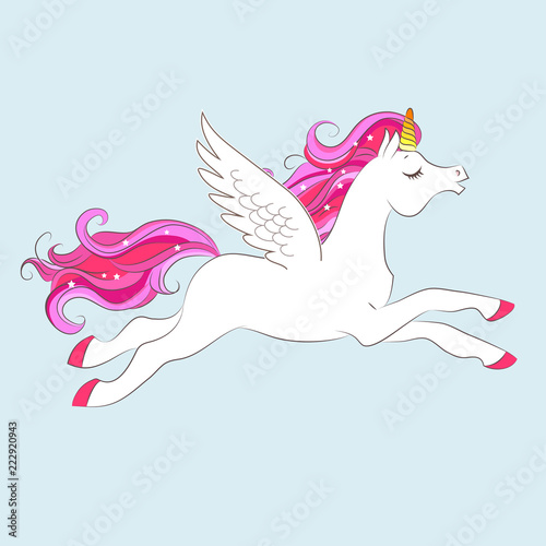 Fotobehang Pony White girl Unicorn with Pink hair and stars.