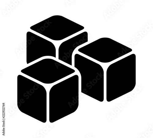 Fototapeta Three ice cubes or sugar cubes flat vector icon for apps and websites