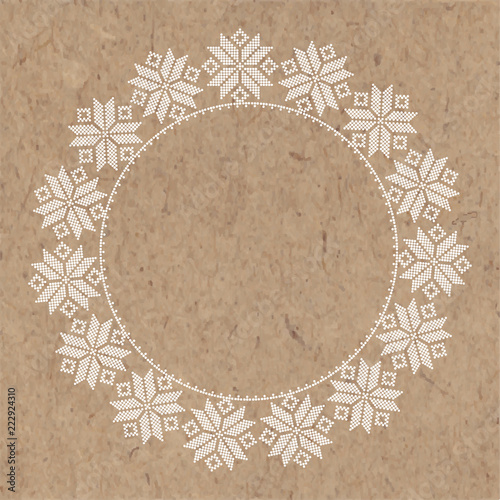 Fototapeta Abstract Winter Decor On Kraft Paper Vector Round Frame With Place For Text Greeting Card Invitation Or Isolated Elements For Design